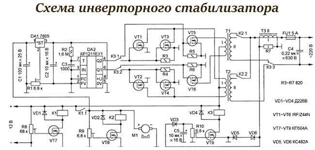 Как выглядит схема инверторного стабилизатора